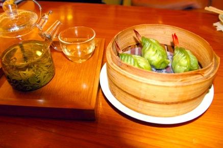 Dimsum i Kina serveres gjerne med grønn te. Foto: Lise von Krogh