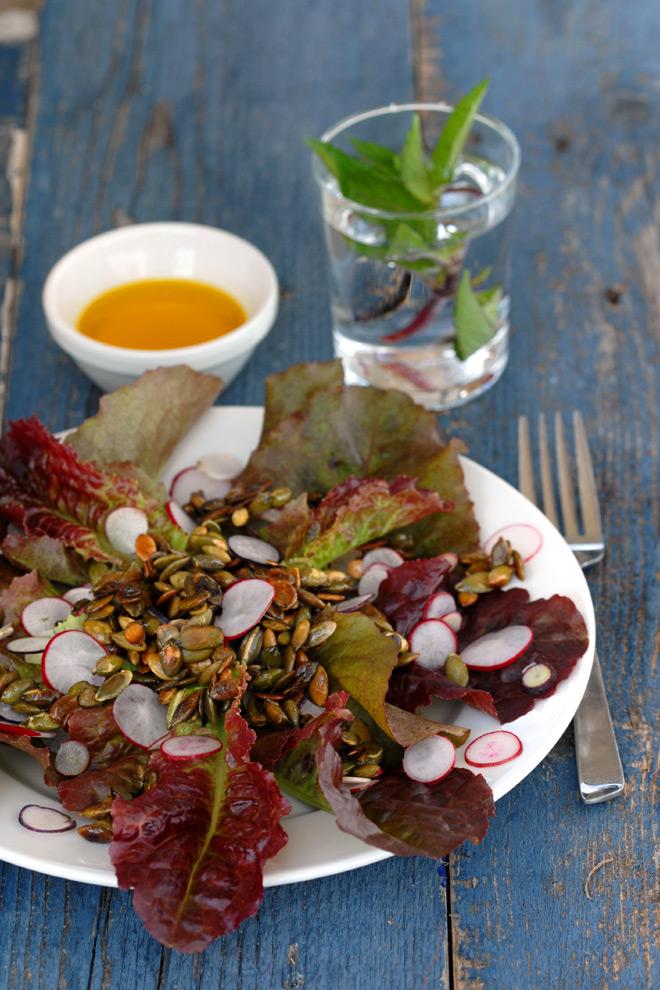 Helt fersk salat! Foto: Lise von Krogh.