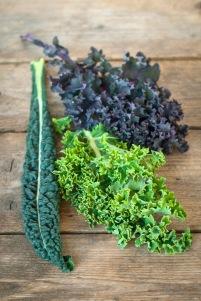 Rød grønnkål, svartkål og grønn grønnkål. Foto: Lise von Krogh ©