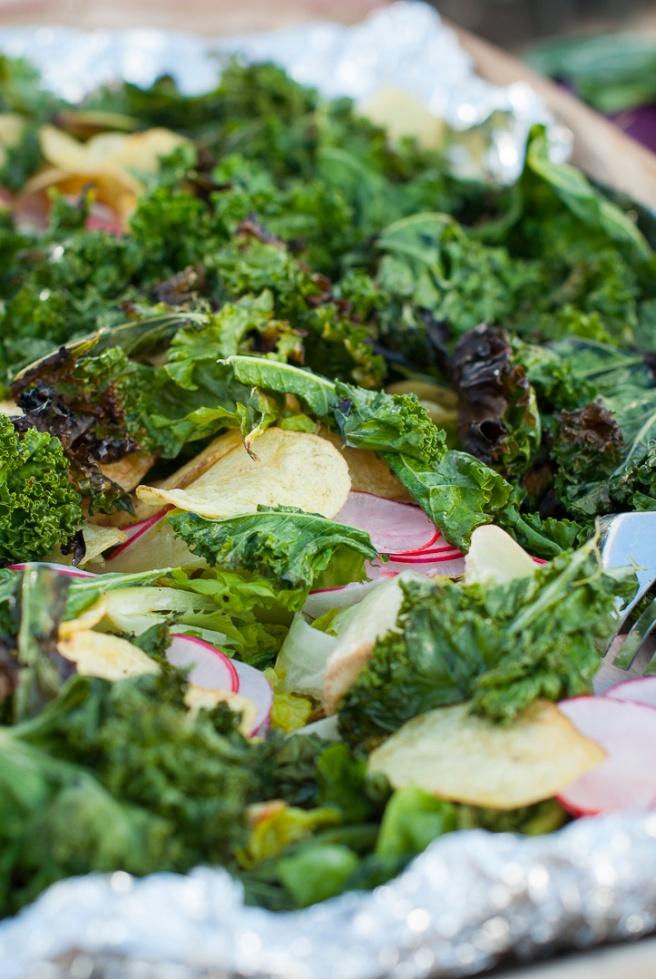 Chips trippel av grønnkål, totenflak og reddiker. Foto: lise von Krogh ©